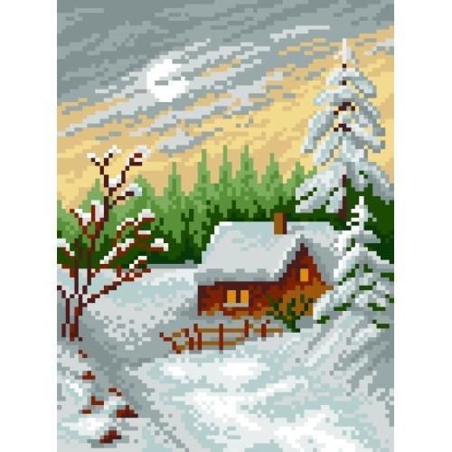Kanwa z nadrukiem - Pejzaż zimowy