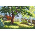 Kanwa z nadrukiem - Pejzaż z drzewem