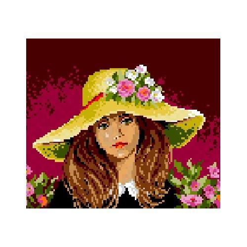 572 Kanwa z nadrukiem - Dziewczynka w kapeluszu