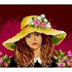 Kanwa z nadrukiem - Dziewczynka w kapeluszu