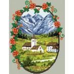 Kanwa z nadrukiem - Wioska w górach
