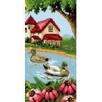 Kanwa z nadrukiem - Kaczki na jeziorze