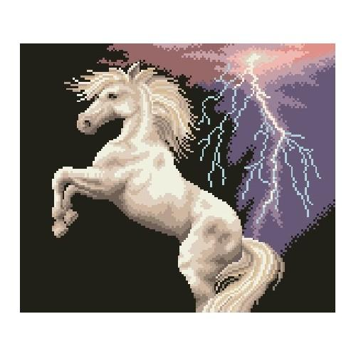 Kanwa z nadrukiem - Koń w burzy
