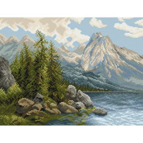 Kanwa z nadrukiem - Jezioro w górach