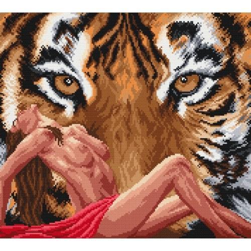 K 761 Kanwa z nadrukiem - Akt z tygrysem