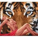 Kanwa z nadrukiem - Akt z tygrysem