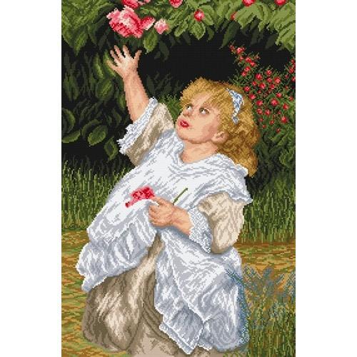 Kanwa z nadrukiem - Dziewczynka w ogrodzie