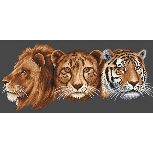 Kanwa z nadrukiem - Lew, Gepard, Tygrys