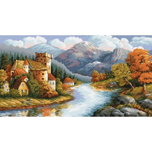 Kanwa z nadrukiem - Zamek nad rzeką
