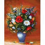 Kanwa z nadrukiem - Barwne_kwiaty
