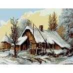 Kanwa z nadrukiem - L. Stochla - Zimowa chata