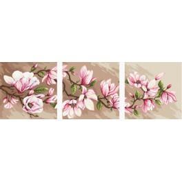 Kanwa z nadrukiem - Tryptyk z magnoliami