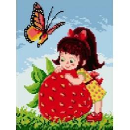 Kanwa z nadrukiem - Dziewczynka z truskawką
