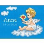 Kanwa z nadrukiem - Moje narodziny- Aniołek na chmurce