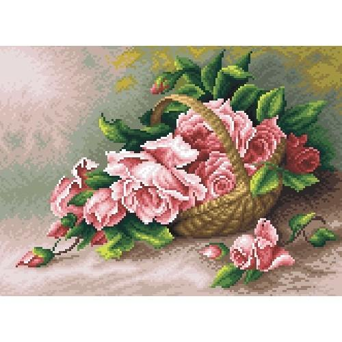 Kanwa z nadrukiem - Róże w koszu wiklinowym
