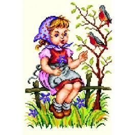 Kanwa z nadrukiem - Dziewczynka z ptaszkiem