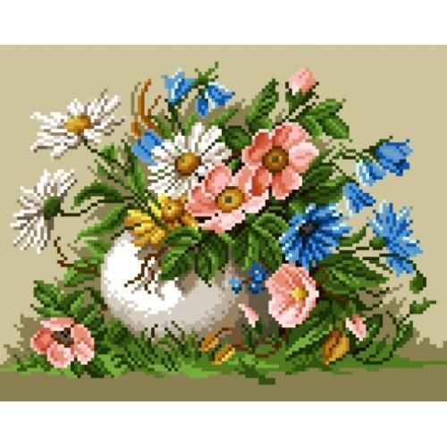Kanwa z nadrukiem - Polne kwiaty