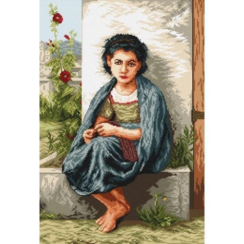 Kanwa z nadrukiem - Mała dziewiarka