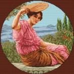 Kanwa z nadrukiem - Dziewczyna z wachlarzem