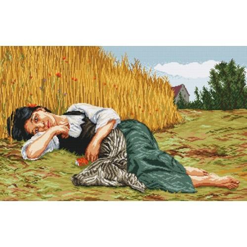 Kanwa z nadrukiem - Odpoczynek w czasie żniw