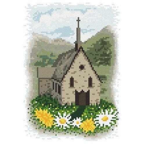 Kanwa z nadrukiem - Kościółek w górach