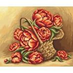 Kanwa z nadrukiem - Kwiaty w koszu