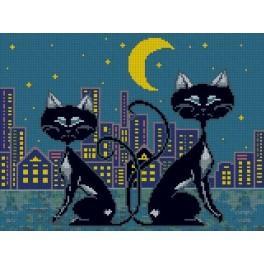 K 3033 Kanwa z nadrukiem - Rodzina kotów