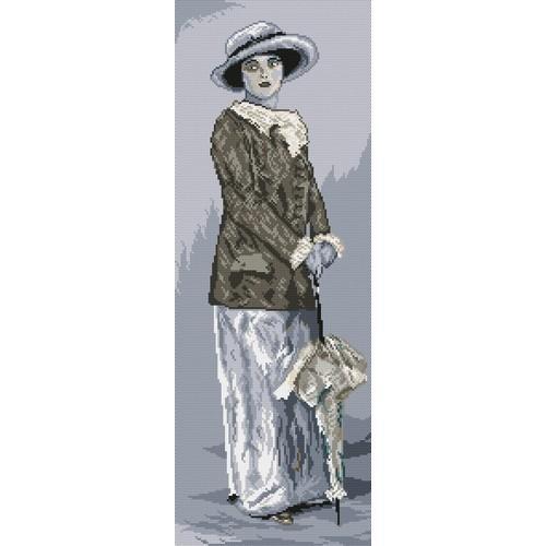 Kanwa z nadrukiem - Kobieta z parasolką