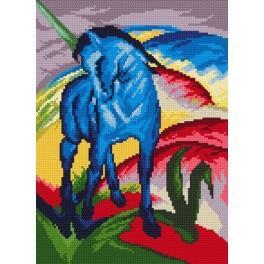 Kanwa z nadrukiem - Niebieski koń - F. Marc