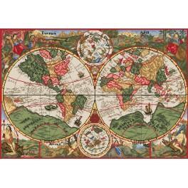 Kanwa z nadrukiem - Antyczna mapa świata
