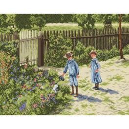 Kanwa z nadrukiem - Dzieci w ogrodzie - W. Podkowiński