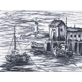 Kanwa z nadrukiem - Kutry rybackie