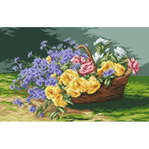 Kanwa z nadrukiem - Kosz pełen kwiatów