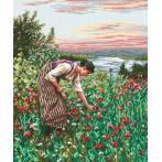 Kanwa z nadrukiem - Kobieta zbierająca maki