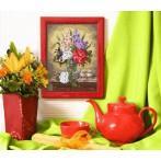 Kanwa z nadrukiem - Kwiaty na komodzie