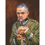 Kanwa z nadrukiem - Józef Piłsudski - W. Kossak