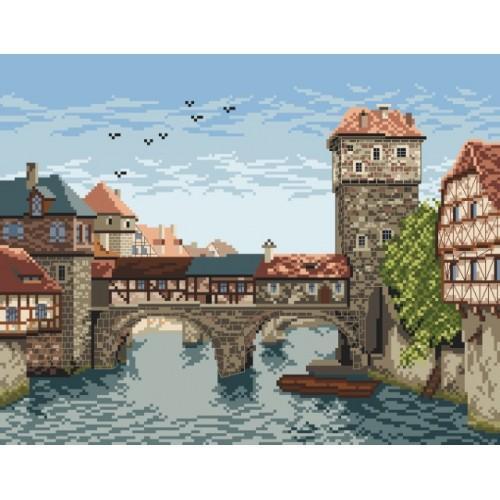 Kanwa z nadrukiem - Most nad rzeką
