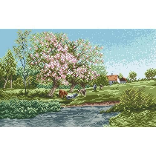 Kanwa z nadrukiem - Wiosna na wsi