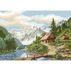 Kanwa z nadrukiem - Alpejski pejzaż