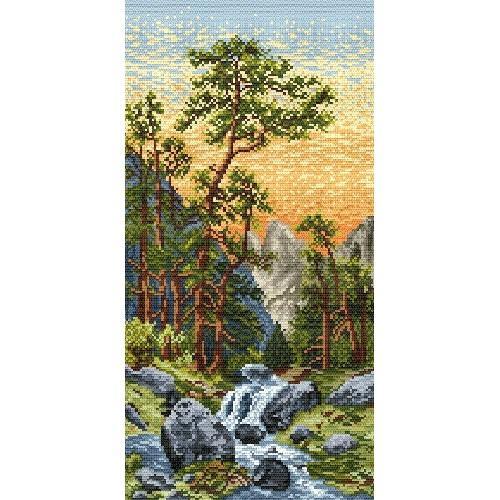 Kanwa z nadrukiem - Górski strumyk