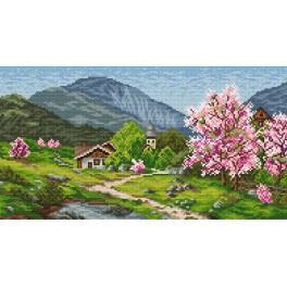 Kanwa z nadrukiem - Wiosna w górach