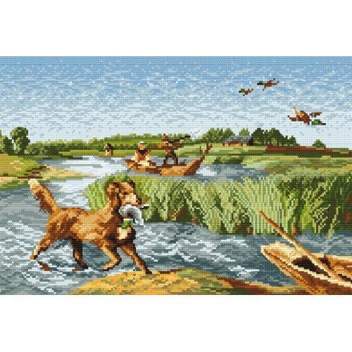 Kanwa z nadrukiem - Polowanie na kaczki