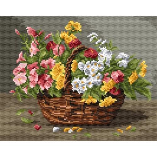 Kanwa z nadrukiem - Kosz barwnych kwiatów