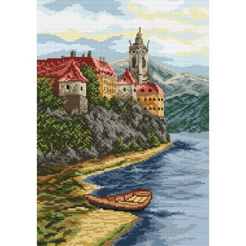 Kanwa z nadrukiem - Zamek na wzgórzu