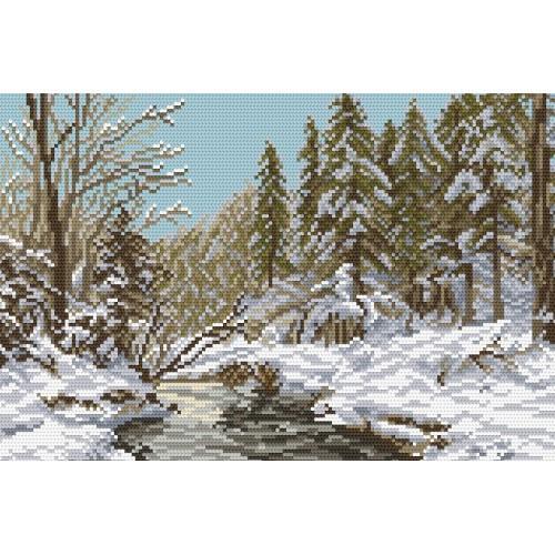 Kanwa z nadrukiem - Zimowa rzeka