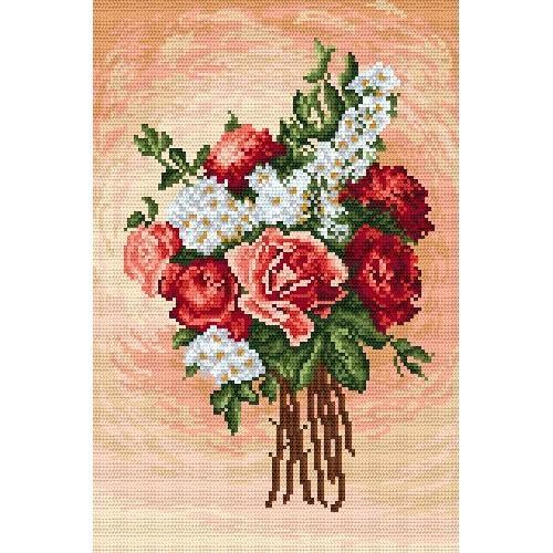 Kanwa z nadrukiem - Różany bukiecik