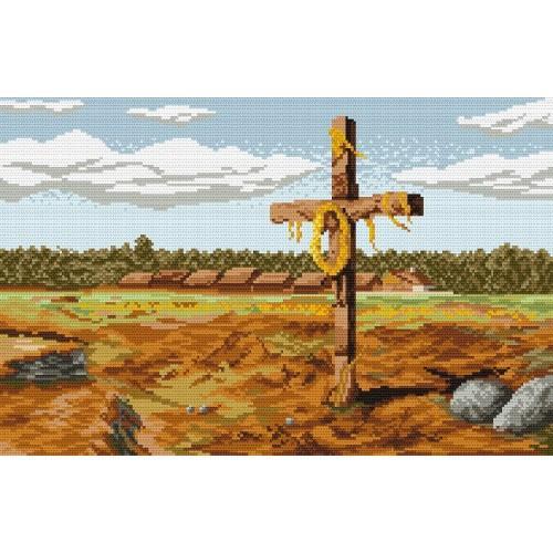 Kanwa z nadrukiem - J. Chełmoński - Krzyż