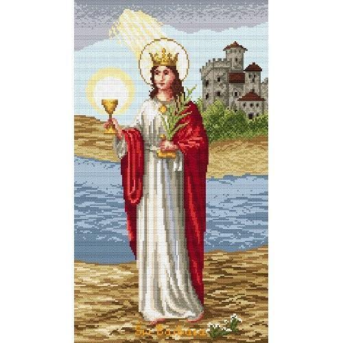 Kanwa z nadrukiem - święta Barbara