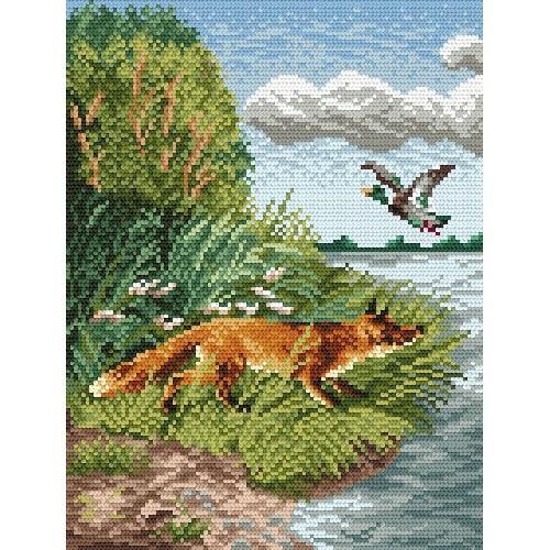 Kanwa z nadrukiem - Polujący lis