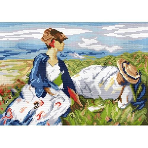 Kanwa z nadrukiem - F. Marc - Dwie dziewczyny na górce